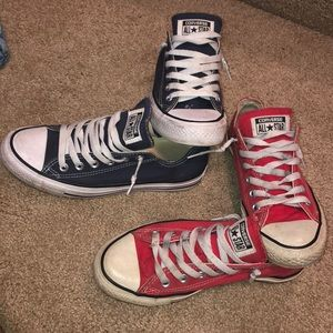 Converse lace up sneakers size 7 women's red/blue